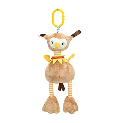 Cartoon Ostrich Plush Doll Soft Cuddly Stuffed Toys Baby Rattle Hanging Toys Stroller Toys and Squeaker 1PC : Baby