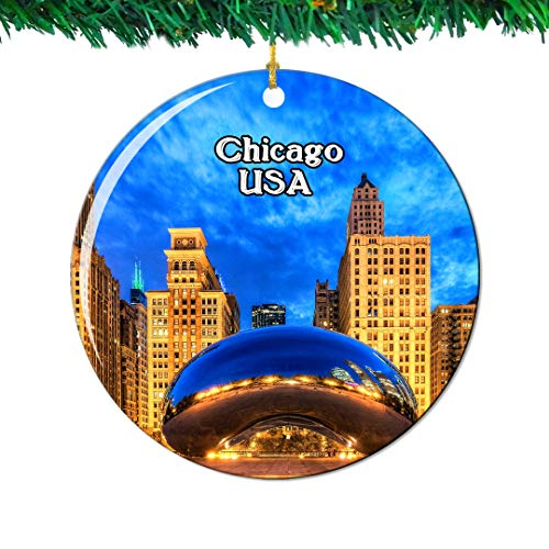 Weekino Cloud Gate Millennium Park Chicago America USA Christmas Ornament City Travel Souvenir Collection Double Sided Porcelain 2.85 Inch Hanging Tree Decoration (Christmas Chicago Park Millennium)