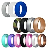 FineGood 14 pcs Silicone Wedding Ring for Men Women, Rubber Wedding Bands Durable Comfortable Antibacterial Rings - Multi-colors