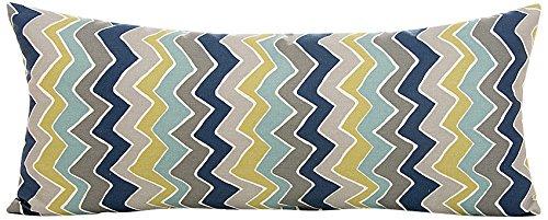 Sweet Potato Uptown Traffic Rectangular Bolster Pillow, Cream/Avocado/Grey/Royal Blue by Sweet Potatoes   B00M8XTMZG