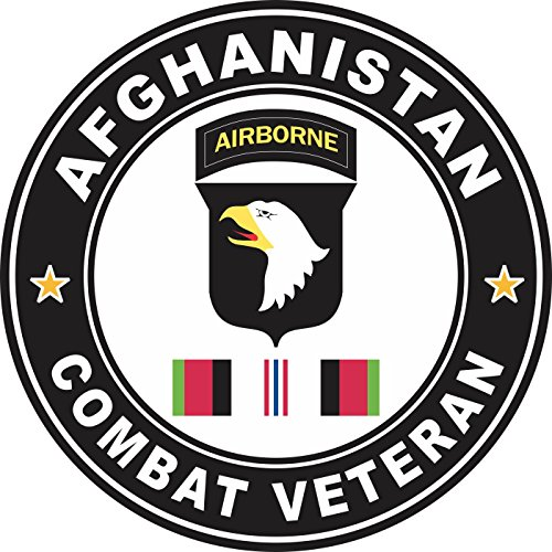 Military Vet Shop US Army 101st Airborne Division Afghanistan Combat Veteran Window Bumper Sticker Decal 3.8