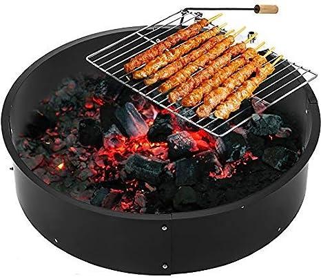 Imagen deMoracle Fire Pit Q235 Brasero Exterior Calentador de Fuego Cuenco Calentador Metal de Leña Carbón con Parrilla para Barbacoa (36×36×7.8)