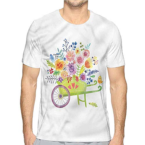 Jinguizi t Shirt Flowers,Wheelbarrow Flowers Printed t Shirt XL ()
