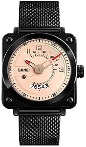 Men's Luxury Analog Quartz Calendar Waterproof Wrist Watches Mesh Band IP Black Plating Steel Watch (Rose Gold)