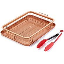 Copper Crisper Tray as Oven Crisper Air Fryer included Kitchen Tong by Gvode