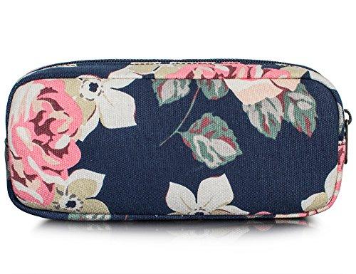 Leaper Floral Pen Pencil Case Coin Purse Pouch Cosmetic Makeup Bag Dark Blue ()