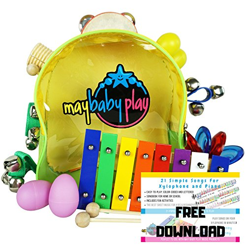 MAY BABY PLAY Kids Musical Instruments Set with 21 Songs EBook - My First Musical Adventure | Musical Toys for Toddlers Pre-School Kindergarten Education | with Backpack