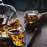 Skull Shaped Glass Whiskey and Liquor Decanter Set - The Perfect Gift Includes 4 Double Walled Skull Shot Glasses - Also for Brandy Tequila Bourbon Scotch Rum -Alcohol Related Gifts for Dad (750ML)