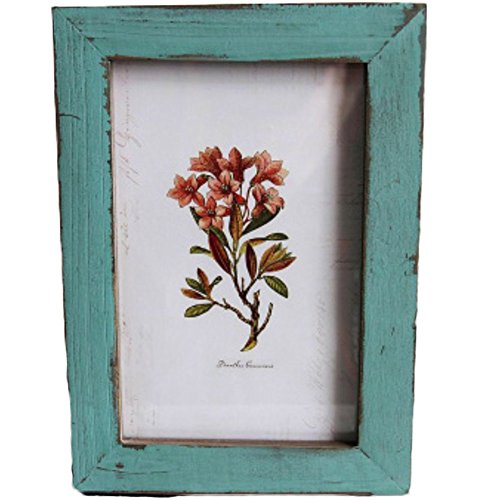 Leisial Cadre photo en bois Style vintage Pour décorer la maison Photos de mariage, de paysages Bleu, 17,6 x 12,6 cm
