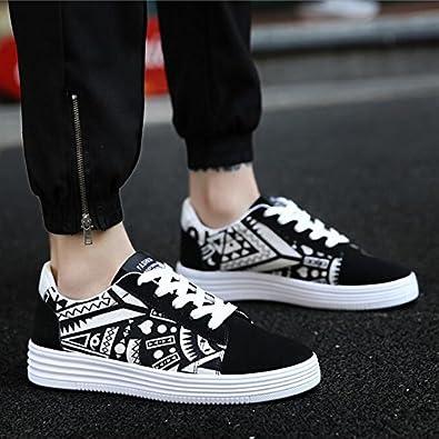 Shoes Mens Casual Shoes Lace-up Shoes Fashion Deck Shoes (Color : Black Size : 43)