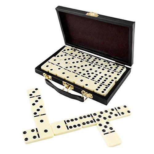 Domino Set, Premium Classic 28 Pieces Double Six In Durable Wooden Brown (28 Piece Domino Sets)