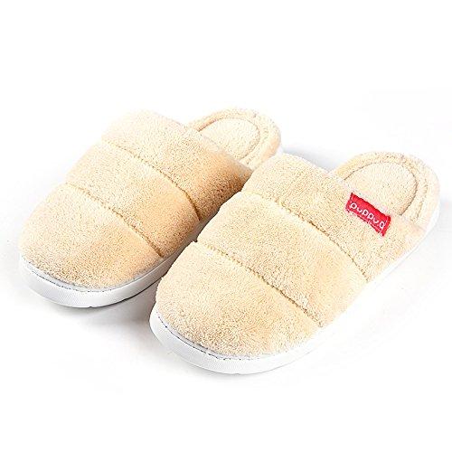 LaxBa Ladies Cachemire tricoté coton Maison Slipperscreamy Anti-Slip-blanc38-39