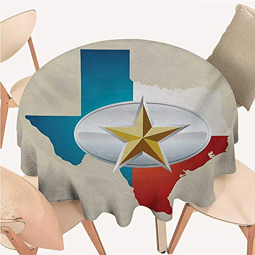 Texas Star tablecloths Cowboy Belt Buckle Star Design with Texas Map Southwestern Parts of America 54 inch Round Tablecloth Multicolor