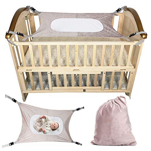 Baby Hammock Swing Folding Crib for Newborn Adjustable Straps Comfortable and Breathable Supportive Mesh Safety Nursery Sleeping Bed,Gift Draw String Bag (Beige)