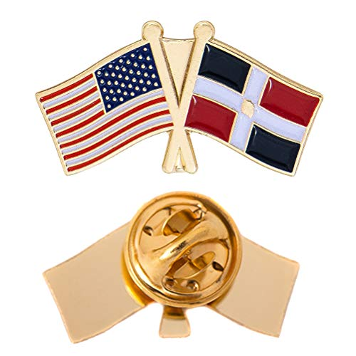 (Dominican Republic Country Double Flag Lapel Pin Enamel with United States USA US Souvenir Hat Men Women Patriotic (Double Flag Pin))