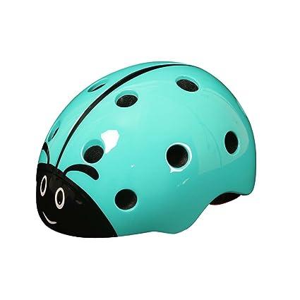 LSERVER-Casco de Bicicleta de los Niños Infantil Casco Seguridad para Bicicleta Animales, Mariquita