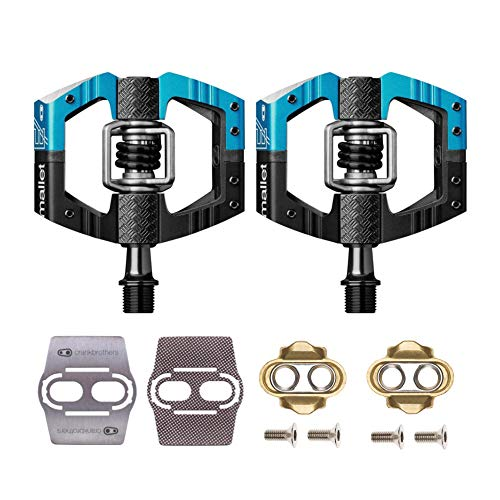 - CRANKBROTHERs Crank Brothers Mallet Enduro Bike Pedals (Black/Blue) with Premium Cleats and Shoe Shields Set for Traction