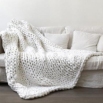 Amazon White 50x70in Super Chunky Blanket Chunky Knit Blanket