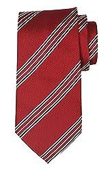 Modlines All Silk Luxury Handmade Wide Red Stripe Tie