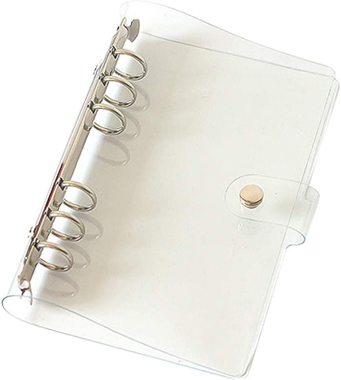 LANGING A6 Standard 6 Holes Clear Soft PVC Notebook Cover Refillable Notebook Case Protector Round Ring Binder