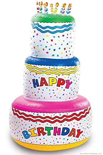 6 FOOT TALL - Blow Up Inflatable Happy Birthday Cake Inflate - Party Decoration