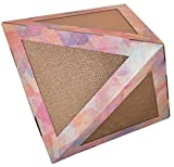 Pet Life Triangular Puzzle' Designer Premium Quality Kitty Cat Scratcher Lounge Toy and House with Catnip, One Size, Rainbow Tye Die