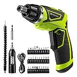 Powerextra Cordless Rechargeable Screwdriver 3.6-Volt 2000mAh Li-ion MAX Torque 6N.m Screw Power Gun with 6+1 Torque,30pcs Driver Bits,USB Charging Cable,Wine Opener