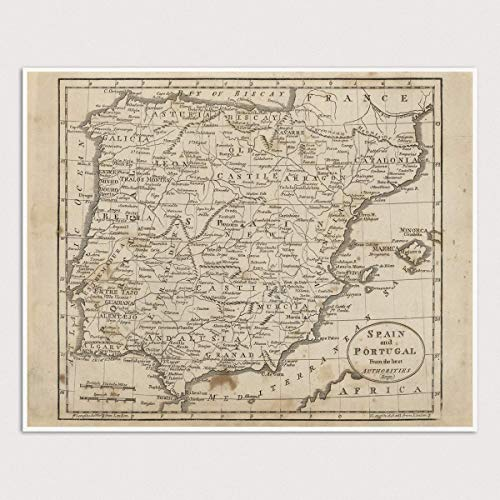 Antique Print Spain - Old Spain Map Art Print, Portugal, 1816, Archival Reproduction, Unframed