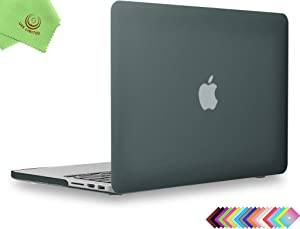 UESWILL Smooth Touch Matte Hard Case Cover for MacBook Pro 15 inch with Retina Display A1398 (NO Touch Bar, NO CD-ROM) + Microfibre Cleaning Cloth, Midnight Green