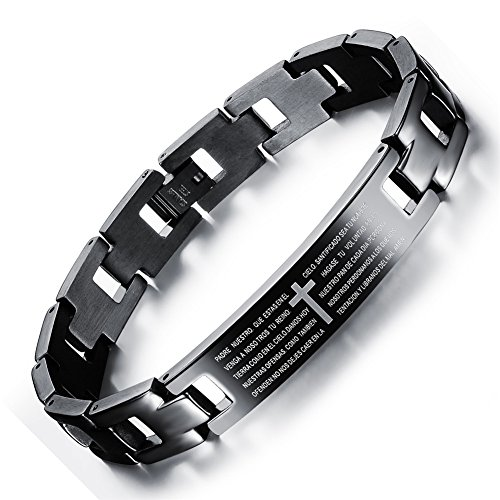 Prayer bracelets, Titanium Magnetic Bracelet , Bestory Cross Scripture Bracelet English Bible Lords Prayer Titanium Magnetic Bracelet Adjustable ()