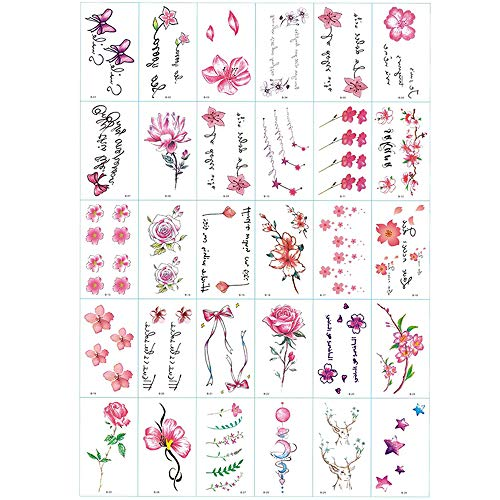 Cherry Tattoo (30 Sheets cute small flower temporary tattoos by Yesallwas,Waterproof long lasting Fake Tattoos Stickers for for kids girls women body tattoos-lotus tattoo,stars tattoo,rose tattoo)