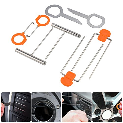 Carperipher Car Trim Removal Tool 12pcs Auto Trim Door Panel Window Molding Upholstery Fastener Clip Removal Tool Kit for Dash Center Console Installation and Remover