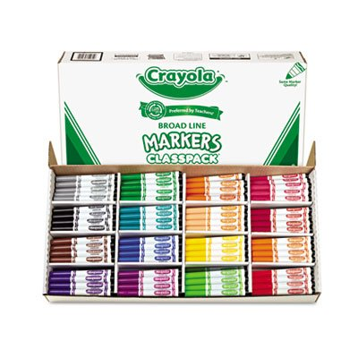 Washable Conical Tip (o Crayola LLC o - Non-Washable Markers Classpack,Conical Tip,16 Clrs,256/BX)