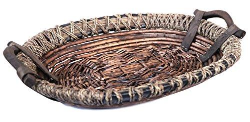 Handmade Oval Wicker Basket With 2 Handles