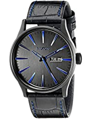 Nixon Mens A1052153 Sentry Black Stainless Steel Watch with Genuine Leather Band