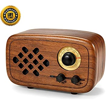 Rerii Handmade Walnut Wood Portable Bluetooth Speaker, Bluetooth 4.0 Wireless Speakers with Radio FM/AM, Nature Wood Home Audio Bluetooth Speakers with ...