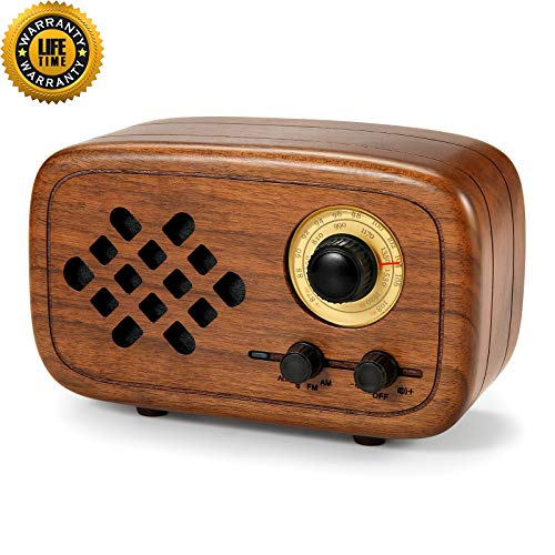 (Rerii Handmade Walnut Wood Portable Bluetooth Speaker, Bluetooth 4.0 Wireless Speakers with Radio FM/AM, Nature Wood Home Audio Bluetooth Speakers with Super Bass and Subwoofer)