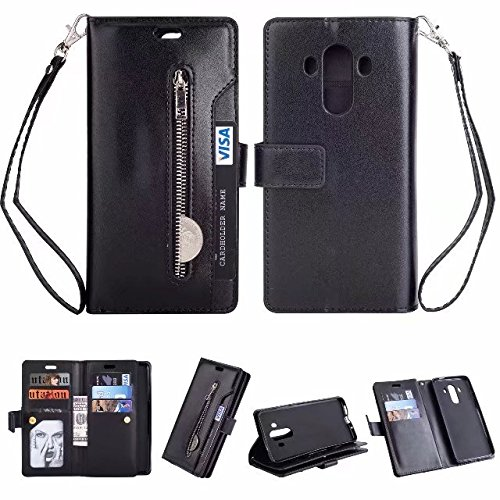 Hidden Billfold (Find box Huawei Mate 10 Pro Case, [9 Credit Card Holder] PU Leather With Card Slots,Hidden Magnetic,Kickstand Function Slim Flip Folio Protective Wallet Case for Huawei Mate 10 Pro Black)