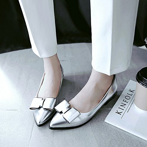 Women Flat 3 Slip Zanpa Silver On Pumps dp6dqw