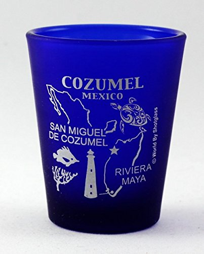 Cozumel Mexico Cobalt Blue Frosted Shot Glass