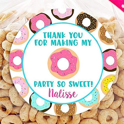 Donut Birthday Personalized Stickers - Birthday Favor Stickers - Thank You For Coming - Donut Treat Bags - Sheet of 12 or 24]()