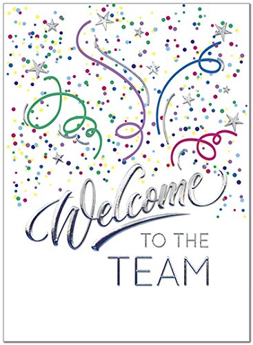 25 Employee Welcome Cards - Fun Confetti Design - 26 White Envelopes - Eco Friendly - A8054U V81 by Posty Cards