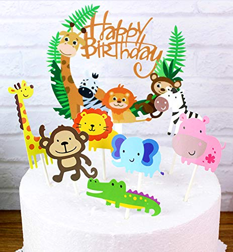 B-FUL Jungle Marine Farm Animal Cake Decorations Cupcake Topper For Wedding,Baby Show,Kid Birthday Party (Jungle)