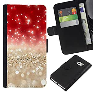 For Samsung Galaxy S6 EDGE Case , Pearls Gold Silver Red Glitter - la tarjeta de Crédito Slots PU Funda de cuero Monedero caso cubierta de piel