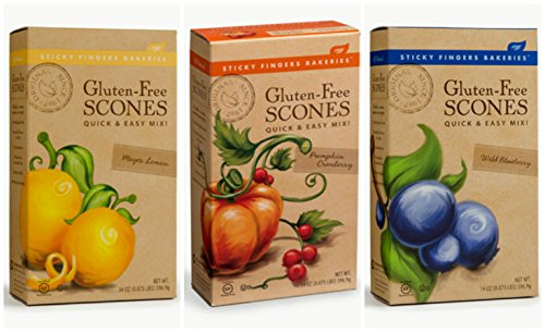 Sticky Fingers Gluten-Free Scone Mix Bundle with Pumpkin Cranberry, Wild Blueberry and Meyer Lemon Scone Mix, 14 Oz Each (3 Boxes Total)