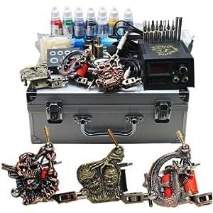 Professional complete tattoo kit 3 top machine gun 7 color for Amazon tattoo machine