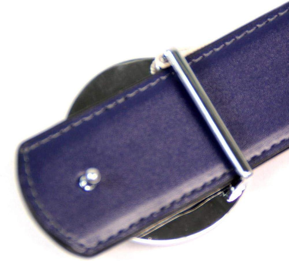 wrhua Ceinture en cuir pour hommes à boucle lisse Bleu 7a539088000-08