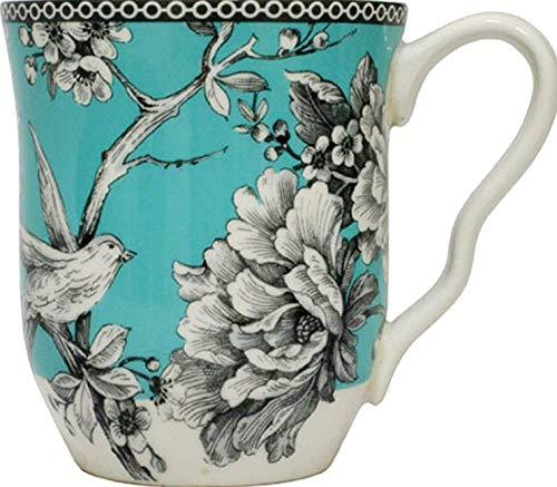 222 Fifth Adelaide Turquoise Toile Porcelain Mugs for Coffee, Tea, Latte   SET OF 4 ()
