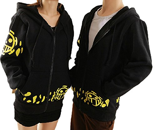 GK-O One Piece Trafalgar Law Coat Hoodie Jacket Cosplay Costume (Asian Size XXL)
