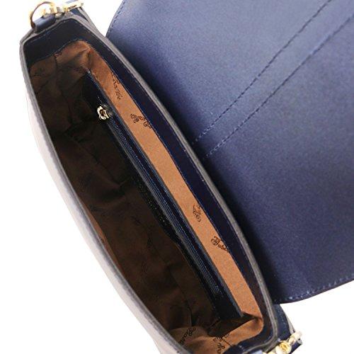 Nausica in Celeste scuro tracolla a Blu metallic Tuscany Leather Borsa pelle F15ggq